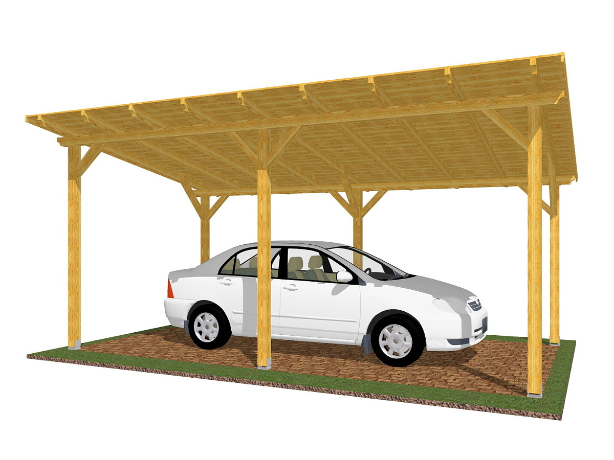 Garážové stání Standard 300x570_vizualizace - Standardní provedení garážového stání s palubkovým záklopem.