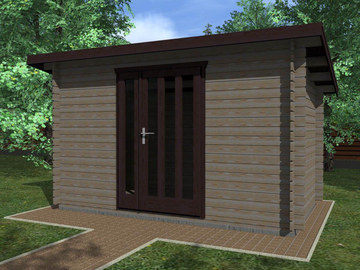 Kevin EKO 350x250 28 mm_vizualizace - Moderní nářaďový zahradní domek Kevin s čelním přesahem střechy 30 cm. Standardní provedení.