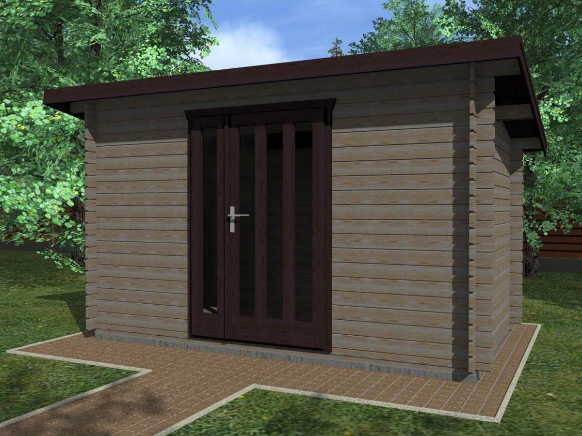 Kevin EKO 350x200 28 mm_vizualizace - Moderní nářaďový zahradní domek Kevin s čelním přesahem střechy 30 cm. Standardní provedení.