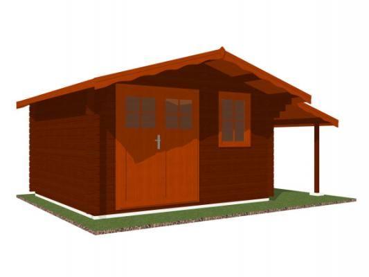Laura EKO DD 350x300 + přístřešek_vizualizace - Zahradní domek Laura EKO s čelním přesahem střechy 70 cm a s bočním přístřeškem. Dvoukřídlé dveře. Standardní provedení.