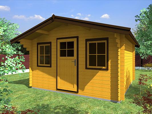 Linda EKO 350x300 - Zahradní domek Linda EKO s čelním přesahem střechy 70 cm a s dvěma okny. Standardní provedení.