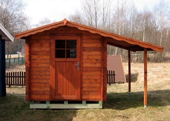 Albert 200x200 s přístřeškem - Nářaďový zahradní domek Albert s čelním přesahem střechy 30 cm a s bočním přístřeškem.