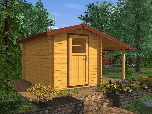 Albert EKO 200x300 + pristresek_vizualizace - Nářaďový zahradní domek Albert s čelním přesahem střechy 30 cm a bočním přístřeškem. Standardní provedení.