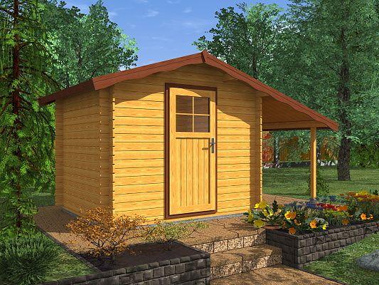 Albert EKO 250x250 + pristresek_vizualizace - Nářaďový zahradní domek Albert s čelním přesahem střechy 30 cm a bočním přístřeškem. Standardní provedení.