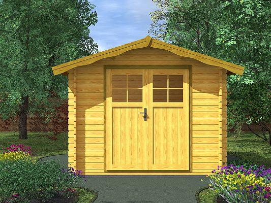 Albert EKO DD 250x250 28 mm_vizualizace - Nářaďový zahradní domek Albert EKO s čelním přesahem střechy 30 cm a dvoukřídlými dveřmi. Standardní provedení.