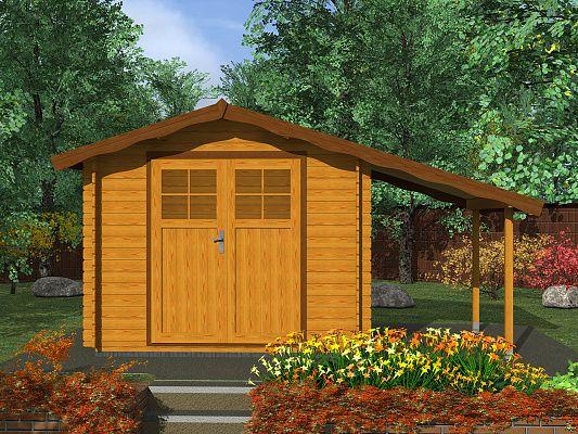 Albert EKO DD 250x250 + pristresek_vizualizace - Nářaďový zahradní domek Albert EKO s čelním přesahem střechy 30 cm, s dvoukřídlými dveřmi a s bočním přístřeškem.