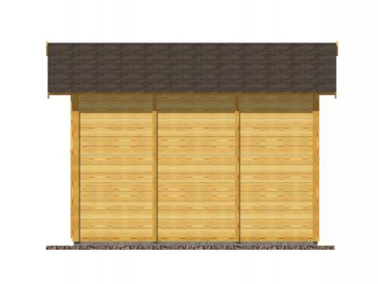 Felix 190x300_vizualizace boční strany - Nářaďový palubkový domek Felix s čelním přesahem střechy 30 cm. Standardní provedení