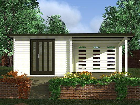 Kamal 1 EKO 300x200 28 mm_vizualizace - Moderní nářaďový zahradní domek Kamal s čelním přesahem střechy 30 cm a bočním zastřešením. Standardní provedení.