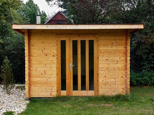 Kevin EKO 300x200 - Moderní nářaďový zahradní domek Kevin s čelním přesahem střechy 30 cm. Standardní provedení.