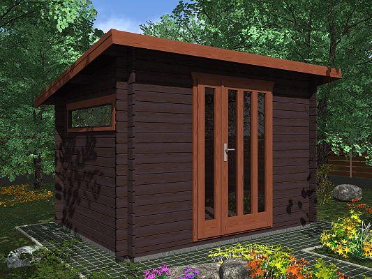 Kevin EKO 300x200 28 mm_vizualizace - Moderní nářaďový zahradní domek Kevin s čelním přesahem střechy 30 cm. Standardní provedení.