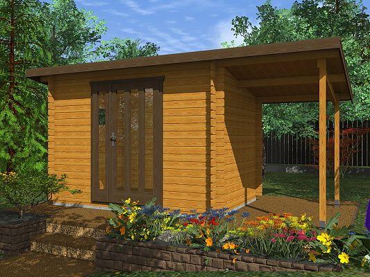 Kevin EKO 300x200 28 mm + pristresek_vizualizace - Moderní nářaďový zahradní domek Kevin s čelním přesahem střechy 30 cm a s bočním přístřeškem. Standardní provedení.