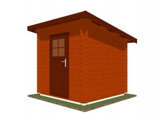 Robin 200x200 28 mm_vizualizace - Nářaďový zahradní domek Robin s čelním přesahem střechy 30 cm. Standardní provedení.