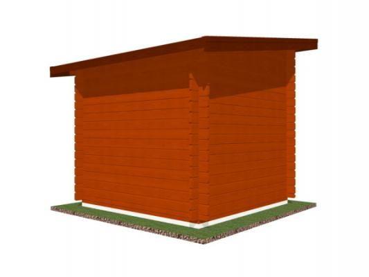 Robin 200x200 28 mm_vizualizace zadní strany - Nářaďový zahradní domek Robin s čelním přesahem střechy 30 cm. Standardní provedení.