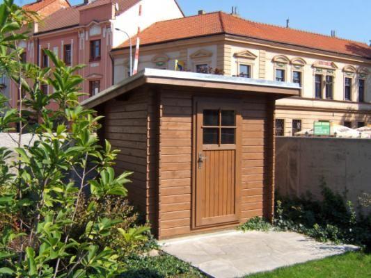 Robin 200x200 - Nářaďový zahradní domek Robin s čelním přesahem střechy 30 cm. Okapy, svod a oplechování střechy - pozink.