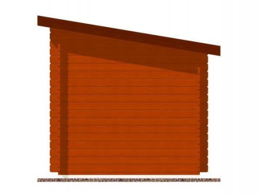 Robin 200x200 28 mm_vizualizace boční strany - Nářaďový zahradní domek Robin s čelním přesahem střechy 30 cm. Standardní provedení.