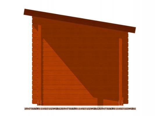 Robin EKO 300x200 28 mm + pristresek_vizualizace boční strany - Nářaďový zahradní domek Robin s čelním přesahem střechy 30 cm a bočním přístřeškem. Standardní provedení.