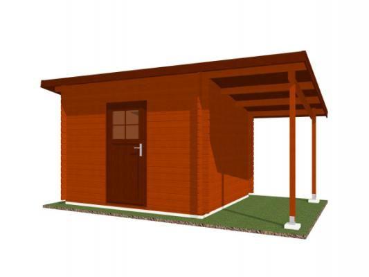 Robin EKO 300x250 28 mm + pristresek_vizualizace - Nářaďový zahradní domek Robin s čelním přesahem střechy 30 cm a bočním přístřeškem. Standardní provedení.