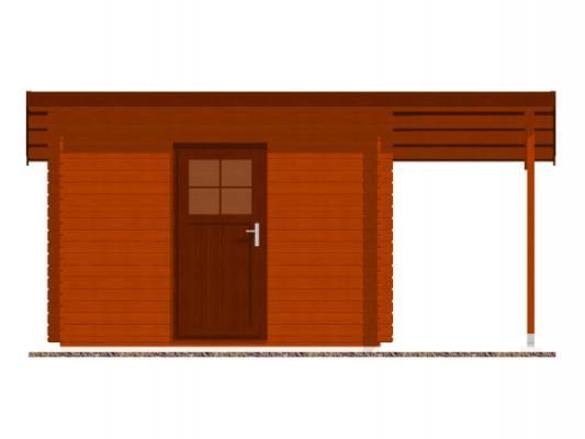 Robin EKO 300x200 28 mm + pristresek_vizualizace čelní strany - Nářaďový zahradní domek Robin s čelním přesahem střechy 30 cm a bočním přístřeškem. Standardní provedení.