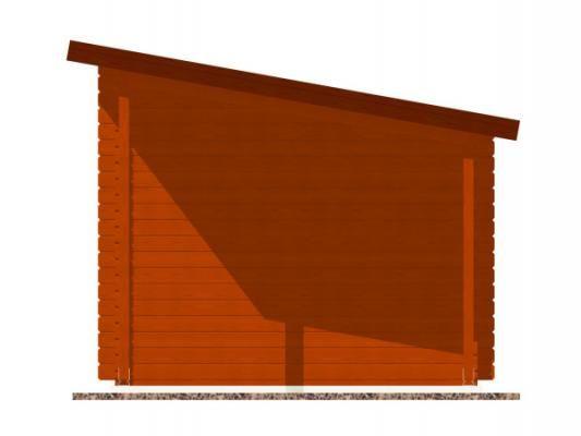 Robin EKO 300x250 28 mm + pristresek_vizualizace boční strany - Nářaďový zahradní domek Robin s čelním přesahem střechy 30 cm a bočním přístřeškem. Standardní provedení.