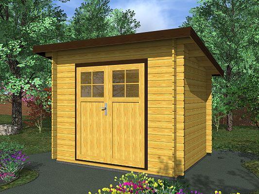 Robin EKO DD 300x250 28 mm_vizualizace - Nářaďový zahradní domek Robin s čelním přesahem střechy 30 cm. Standardní provedení.