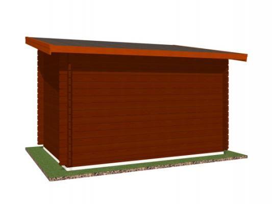Robin EKO DD 300x200 28 mm_vizualizace zadní strany - Nářaďový zahradní domek Robin s čelním přesahem střechy 30 cm. Standardní provedení.