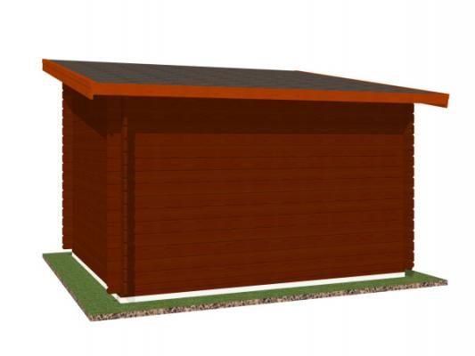 Robin EKO 300x250 28 mm_vizualizace zadní strany - Nářaďový zahradní domek Robin s čelním přesahem střechy 30 cm. Standardní provedení.
