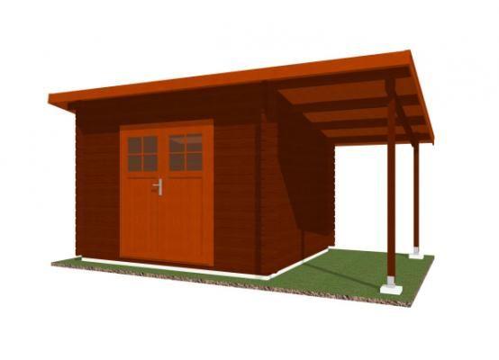 Robin EKO DD 300x250 28 mm + pristresek_vizualizace - Nářaďový zahradní domek Robin s čelním přesahem střechy 30 cm a bočním přístřeškem. Standardní provedení.