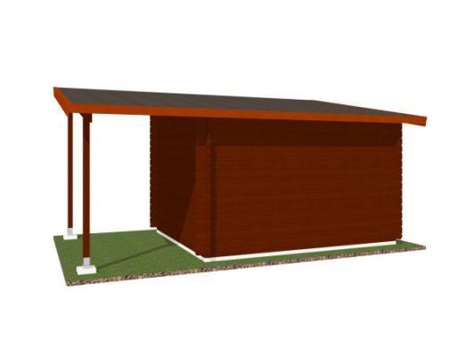 Robin EKO DD 300x250 28 mm + pristresek_vizualizace zadní strany - Nářaďový zahradní domek Robin s čelním přesahem střechy 30 cm a bočním přístřeškem. Standardní provedení.