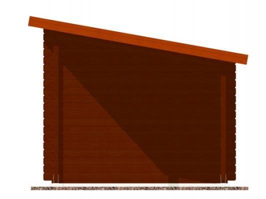 Robin EKO DD 300x250 28 mm + pristresek_vizualizace boční strany - Nářaďový zahradní domek Robin s čelním přesahem střechy 30 cm a bočním přístřeškem. Standardní provedení.