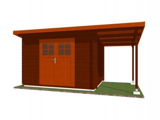 Robin EKO DD 300x200 28 mm + pristresek_vizualizace - Nářaďový zahradní domek Robin s čelním přesahem střechy 30 cm a bočním přístřeškem. Standardní provedení.