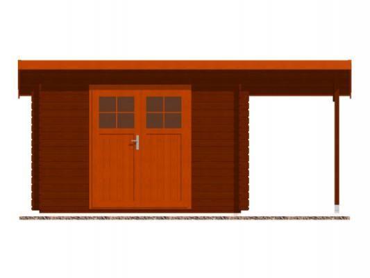Robin EKO DD 300x200 28 mm + pristresek_vizualizace čelní strany - Nářaďový zahradní domek Robin s čelním přesahem střechy 30 cm a bočním přístřeškem. Standardní provedení.