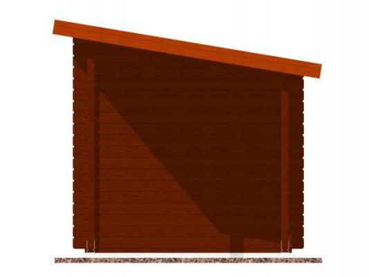 Robin EKO DD 300x200 28 mm + pristresek_vizualizace boční strany - Nářaďový zahradní domek Robin s čelním přesahem střechy 30 cm a bočním přístřeškem. Standardní provedení.