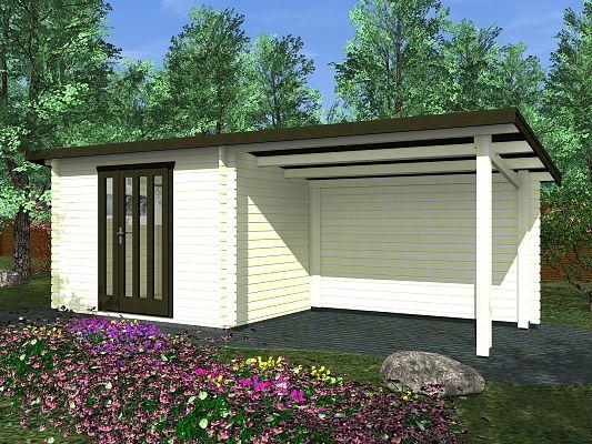 Toby 1 EKO 300x200 28 mm_vizualizace - Moderní nářaďový zahradní domek Toby s čelním přesahem střechy 30 cm a bočním zastřešením. Standardní provedení.