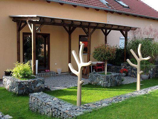 Pergola Standard ke zdi domu 160x620 - Zahradní pergola se střechou z palubkového záklopu.