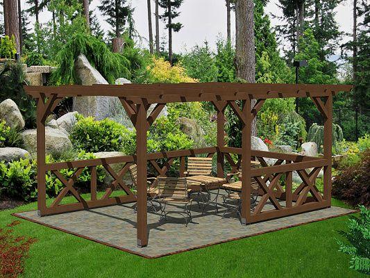 Pergola Standard 300x470 - Zahradní pergola Standard bez sklonu a střešní krytiny. Navíc osazena selskými zástěnami.
