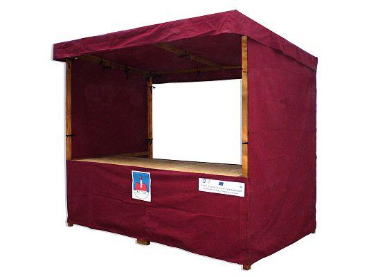stánek plátěný 250x150 - Plátěný stánek se střechou, zakrytým pultem a plátěnými boky.