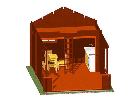 Rekreační chatka Ellen 350x350 s terasou - Rekreační chatka Ellen kompaktních rozměrů, s částečným podkrovím a zastřešenou terasou.