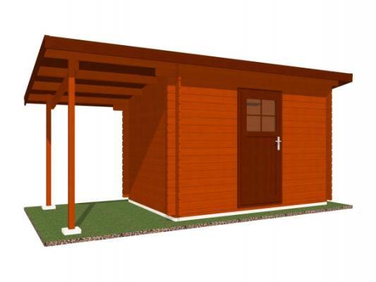 Robin 200x200 s přístřeškem - Nářaďový zahradní domek Robin s čelním přesahem střechy 30 cm a s bočním přístřeškem.