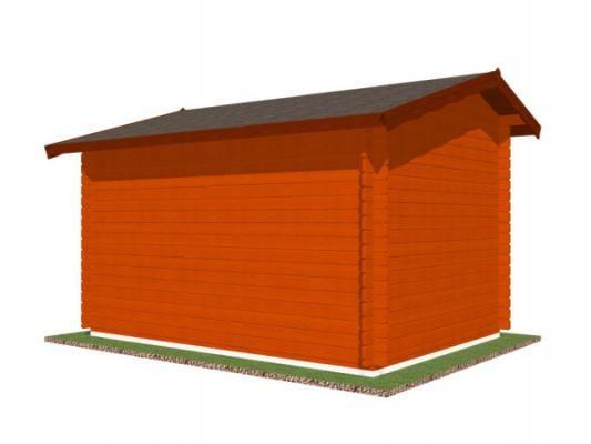 stánek Klasik 350x250 28 mm_vizualizace zadní strany - Srubový stánek Klasik s čelním přesahem střechy 30 cm a dvojitou okenicí. Standardní provedení.