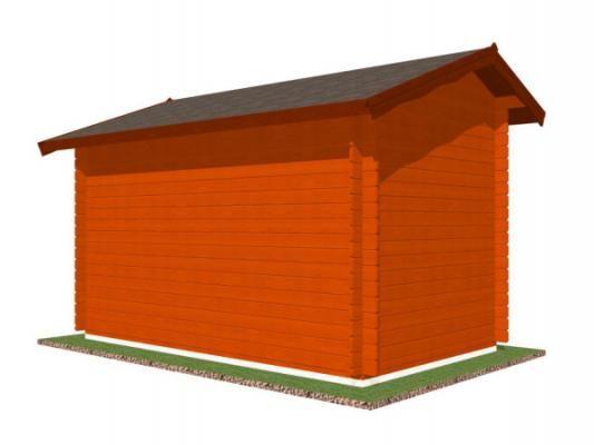 stánek Klasik 350x200 28 mm_vizualizace zadní strany - Srubový stánek Klasik s čelním přesahem střechy 30 cm a dvojitou okenicí. Standardní provedení.