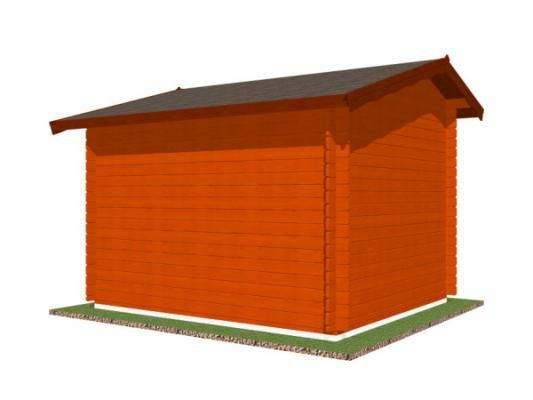stánek Klasik 300x250 28 mm_vizualizace zadní strany - Srubový stánek Klasik s čelním přesahem střechy 30 cm a dvojitou okenicí. Standardní provedení.