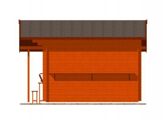 stánek Multi 350x350 28 mm_vizualizace boční strany - Srubový stánek Multi s čelním přesahem střechy 100 cm, bočním přístřeškem 210 cm a dvojitou okenicí.