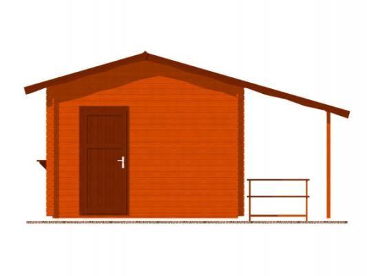 stánek Multi 350x350 28 mm_vizualizace zadní strany - Srubový stánek Multi s čelním přesahem střechy 100 cm, bočním přístřeškem 210 cm a dvojitou okenicí.