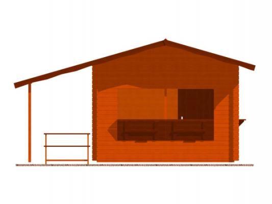 stánek Multi 350x300 28 mm_vizualizace čelní strany - Srubový stánek Multi s čelním přesahem střechy 100 cm, bočním přístřeškem 210 cm a dvojitou okenicí.