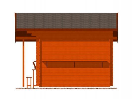 stánek Multi 350x300 28 mm_vizualizace boční strany - Srubový stánek Multi s čelním přesahem střechy 100 cm, bočním přístřeškem 210 cm a dvojitou okenicí.