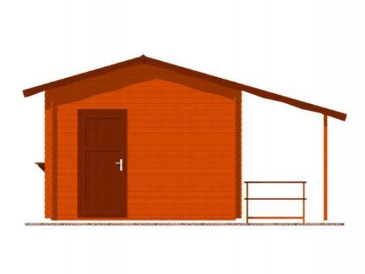 stánek Multi 350x300 28 mm_vizualizace zadní strany - Srubový stánek Multi s čelním přesahem střechy 100 cm, bočním přístřeškem 210 cm a dvojitou okenicí.