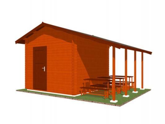 stánek Multi 300x300 28 mm_vizualizace zadní strany - Srubový stánek Multi s čelním přesahem střechy 100 cm, bočním přístřeškem 210 cm a dvojitou okenicí. Standardní provedení.