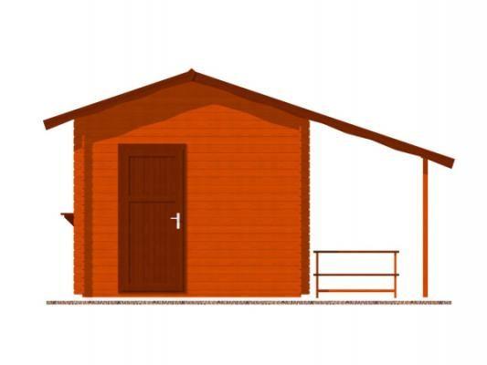stánek Multi 300x300 28 mm_vizualizace zadní strany - Srubový stánek Multi s čelním přesahem střechy 100 cm, bočním přístřeškem 210 cm a dvojitou okenicí.