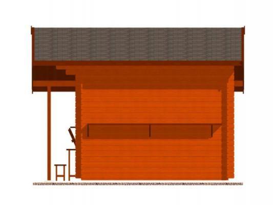 stánek Multi 300x300 28 mm_vizualizace boční strany - Srubový stánek Multi s čelním přesahem střechy 100 cm, bočním přístřeškem 210 cm a dvojitou okenicí. Standardní provedení.