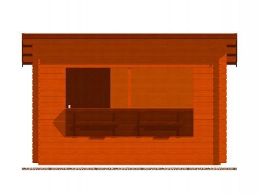 stánek Trafik 350x200 28 mm_vizualizace čelní strany - Srubový stánek Trafik s čelním přesahem střechy 50 cm a dvojitou okenicí. Standardní provedení.